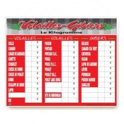 TABLEAU VOLAILLES-GIBIERS 50X40 CM
